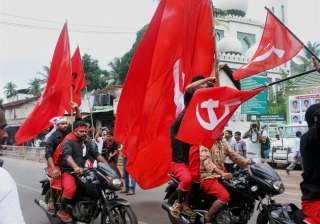 LDF workers take out a road show to celebrate their victory in the assembly elections in Kozhikode on Thursday.