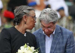 US ambassador to Bangladesh Marcia Bernicat, talks to Italian ambassador to Bangladesh, Mario Palma, as they attend a ceremony to pay tribute to the victims of the attack on Holey Artisan Bakery, at a stadium in Dhaka, Bangladesh