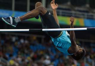 India's Mariyappan Thangavelu in the men's final high jump - T42 during the Paralympic Games at the Olympic Stadium in Rio de Janeiro on September 9, 2016.
