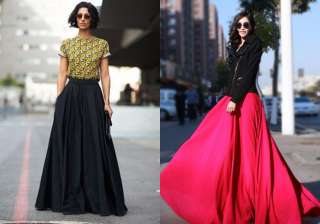 Floor length skirt: There is never a moment of doubt with a princess-style floor length skirt with a train. Pair it with crop top, long tunics or capes. In silk or sheer, the skirt with its long sweeping back will always make a grand entrance.