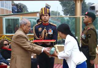 The President, Shri Pranab Mukherjee giving away the Highest Gallantry Award Ashoka Chakra to Havildar Hangpan Dada, the Assam Regiment 35th Battalion the Rashtriya Rifles posthumously, the award received by his wife Mrs. Chasen Lowang Dada, on the occasion of the 68th Republic Day Parade 2017, at Rajpath.