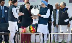 Rahul Gandhi, Sonia Gandhi and Manmohan Singh at Congress