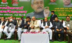 Nitish Kumar with other leaders during the party's Delhi