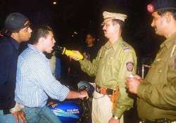 A cop testing for drunk driving