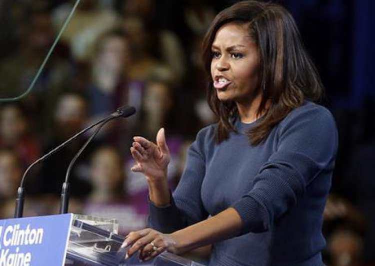 First lady Michelle Obama speaks during a campaign rally- India Tv
