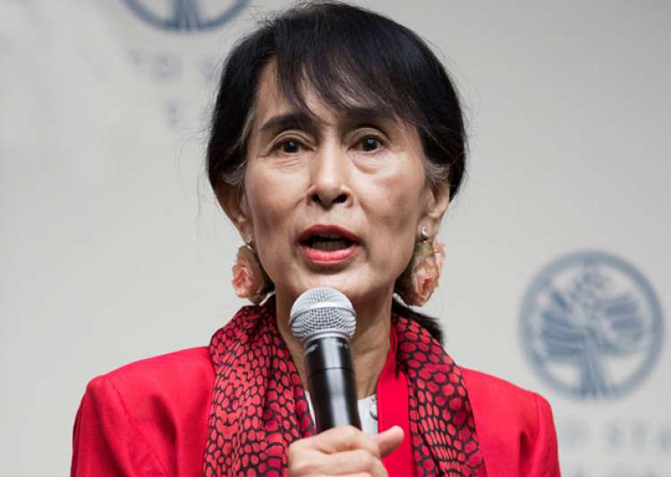 File pic of Aung San Suu Kyi speaking at an event- India Tv