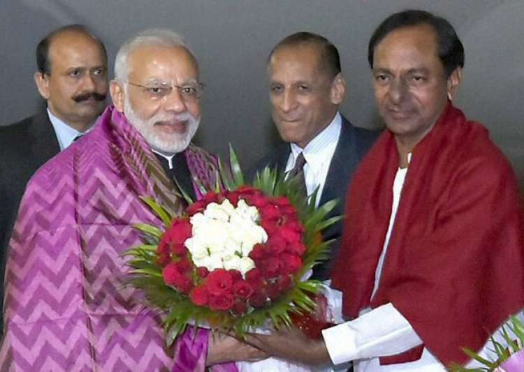 PM Modi being received by Chandrashekhar Rao on his arrival - India Tv