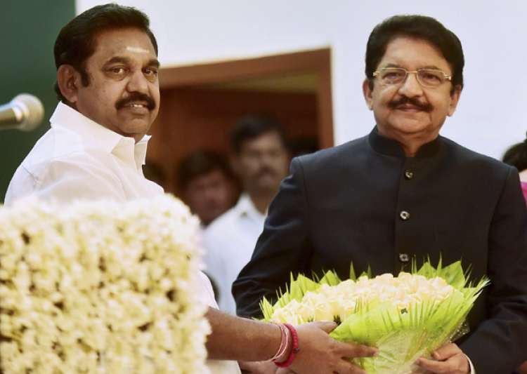 CM Palaniswami with Governor Rao after taking the oath as- India Tv