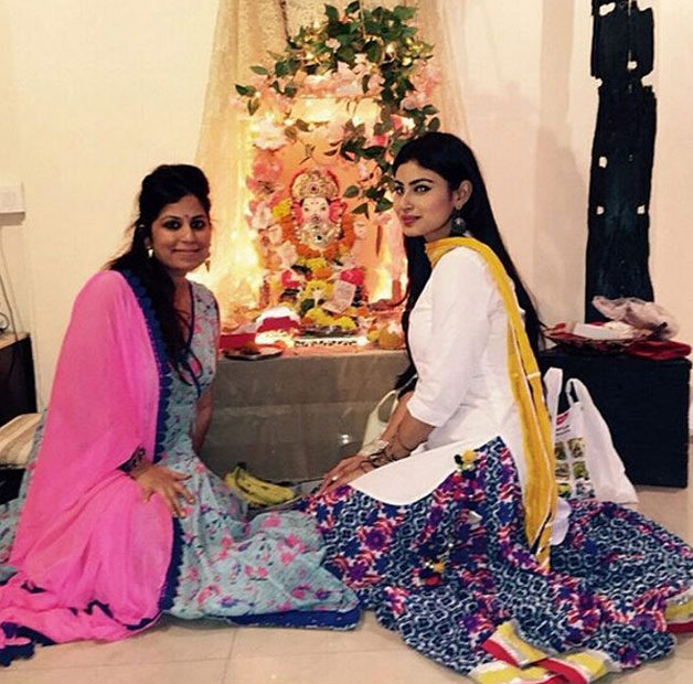 Naagin actress Mouni Roy celebrates Ganesh Chathurthi with friend.