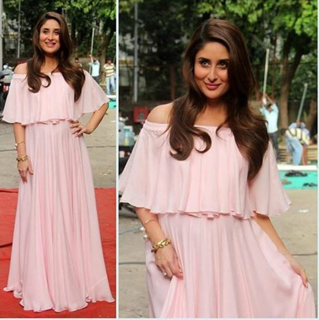 This is one of her most adorable pictures during maternity. Kareena looks lendearing in her baby pink off-shoulder maxi-dress designed by Swapnil Shinde.