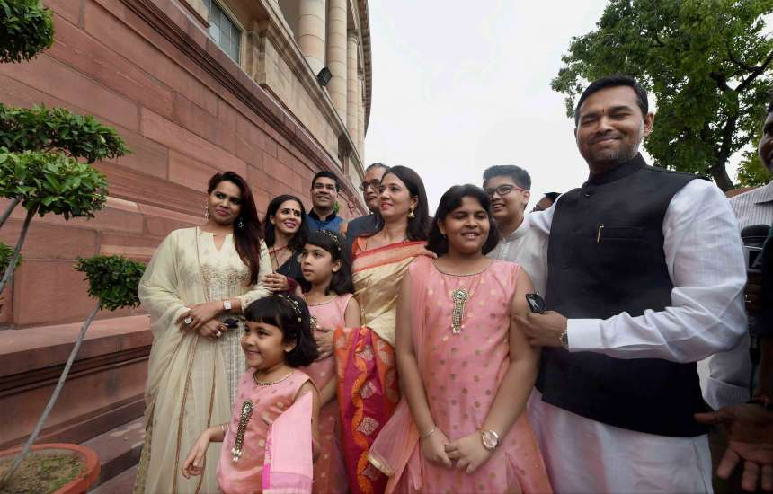 The family members of Ram Nath Kovind arrive to attend his swearing-in ceremony at Parliament