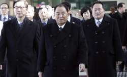 Kim Yong Chol, center, vice chairman of North Korea's