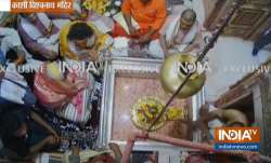 Visuals from inside Kashi Vishwanath temple as Priyanka