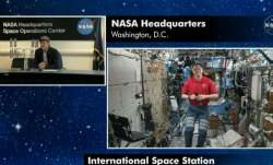 The call, which was broadcast on NASA TV, was part of