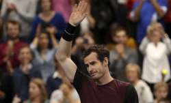 Andy Murray of Britain reacts after winning the European