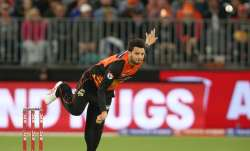 Usman Qadir of the Scorchers bowls during the Big Bash