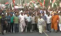 Mamata Banerjee takes out a protest march in Kolkata