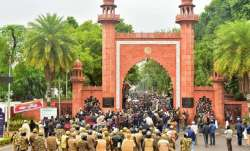 A file photo of a protest at AMU for representational