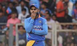 India's captain Virat Kohli gestures during the first