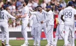 Ishant Sharma of India celebrates with Hanuma Vihari after