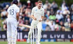 Tim Southee of New Zealand celebrates after dismissing