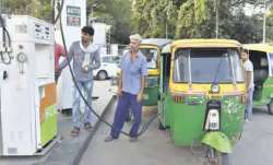 Representational image of autorickshaws at a CNG pump in