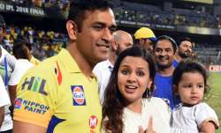 MS Dhoni with wife Sakshi and daughter Ziva