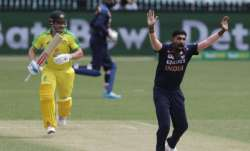 India's Jasprit Bumrah appeals successfully for an LBW