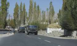 Army vehicles move towards eastern Ladakh, in Leh.