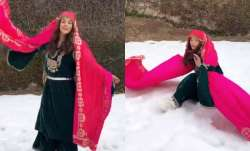 VIDEO: Shehnaaz Gill twirls and falls in snow while shooting in Kashmir