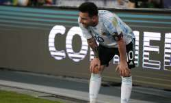 Argentina's Lionel Messi reacts at the end of a Copa