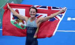 Gold medalist Flora Duffy of Bermuda celebrates after
