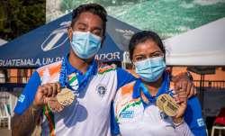 Deepika Kumari and Atanu Das with their medals from Recurve finals during the Hyundai Archery World