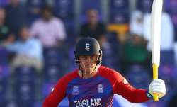 Jason Roy of England plays a shot during the ICC Men's T20 World Cup match between England and Bang