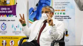 AIIMS Director Randeep Guleria after taking the second dose