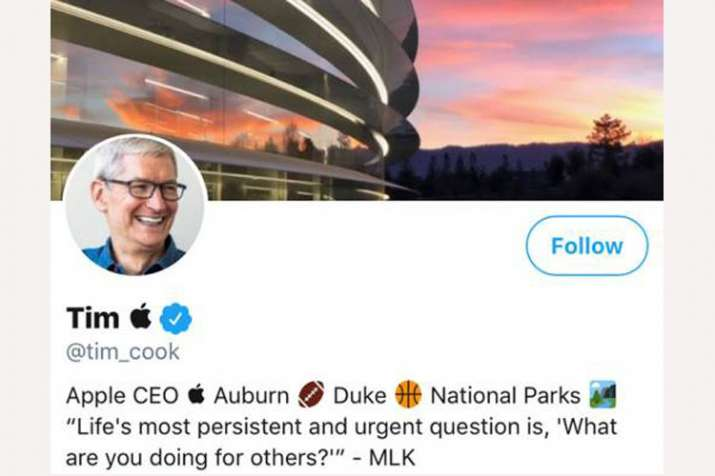 Tim Cook changes his Twitter name to Tim Apple after Trump's flub